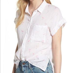 Rails linen short sleeve button down flamingo